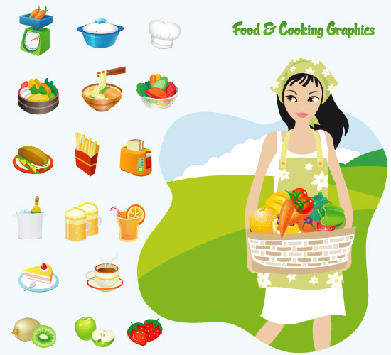 17 Food Cooking Vector Icons