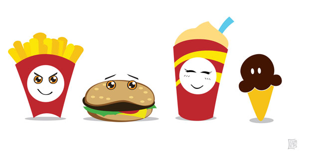 Hamburger and French Fries Vector Meal