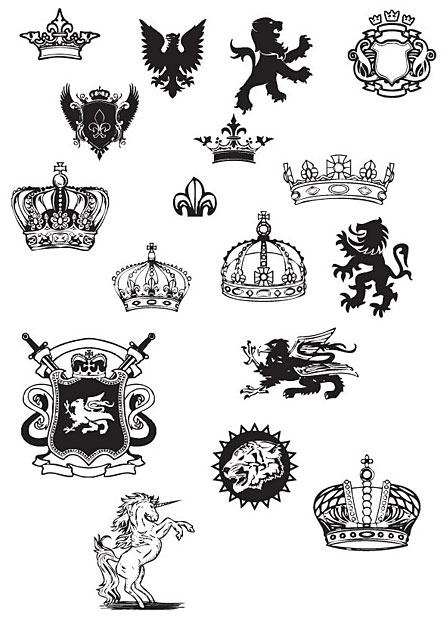Medievalvectorscrown.jpg Crowns Seals Vector Graphics