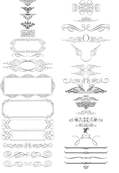 Calligraphy Scrolls Ornaments Vector Art