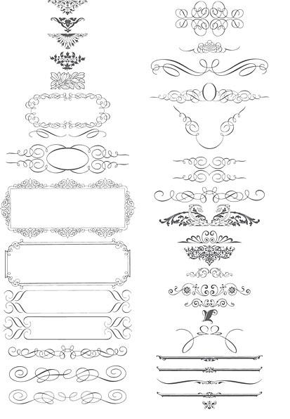 Calligraphy Scrolls Ornaments Vector Art