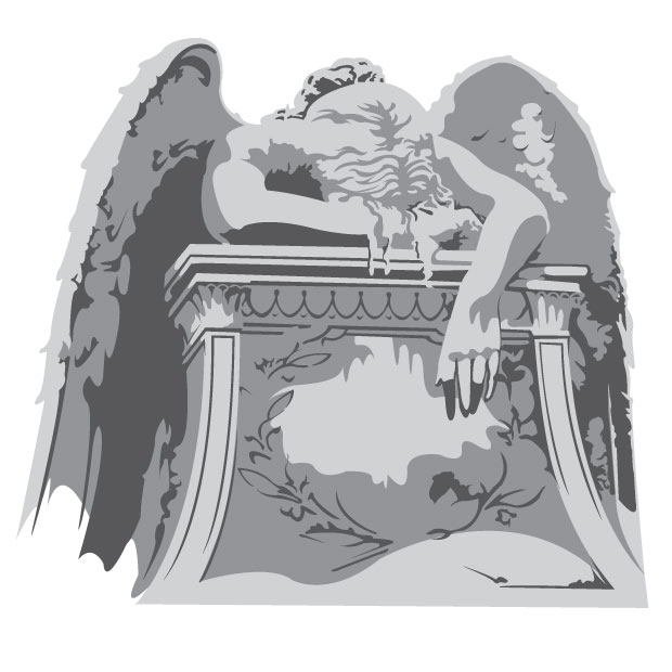 Vector Gravestone With Crying Angel