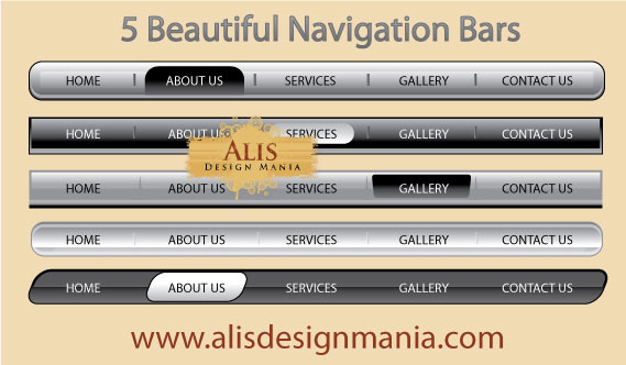 5 Beautiful Vector Web Navigation Bars