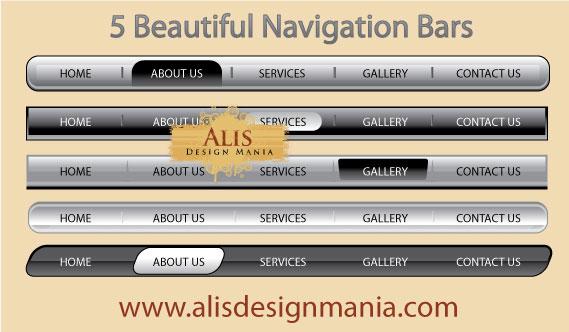5 Beautiful Vector Web Navigation Bars