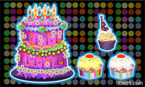 Vector Birthday Cake & Cupcakes