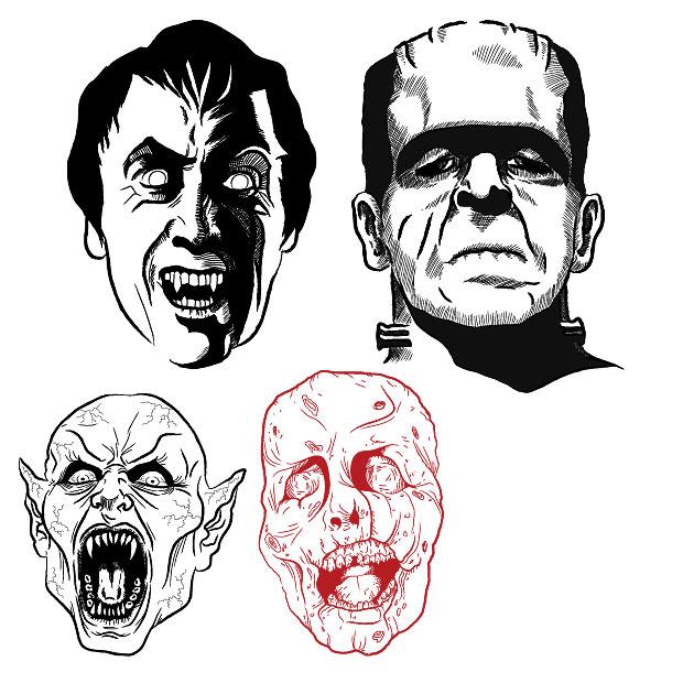 Dracula Heads Vector
