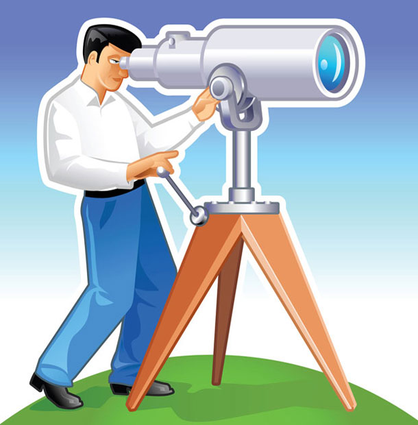 Vector Man With Telescope