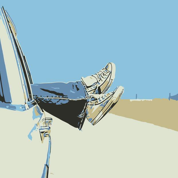 Legs Outside Car Vector Graphic