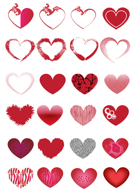 16 Vector Valentine's Hearts