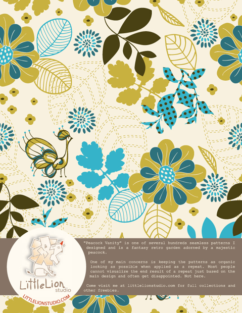 Peacock Vanity Vector Seamless Pattern