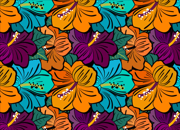 Vector Hibiscus Flower Pattern