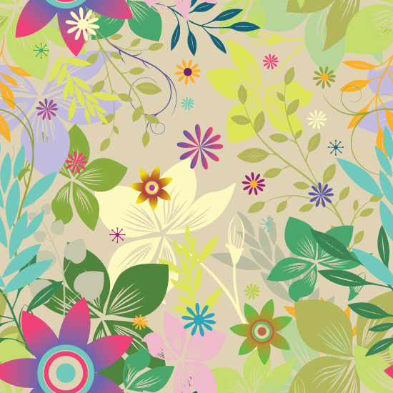Colorful Seamless Leaf Vector Pattern Background