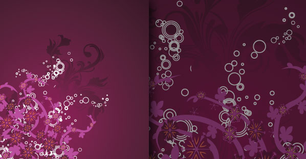 Purple Grungy Floral Vector Decoration