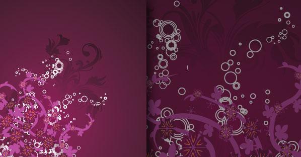 Purple Grungy Floral Vector Decoration