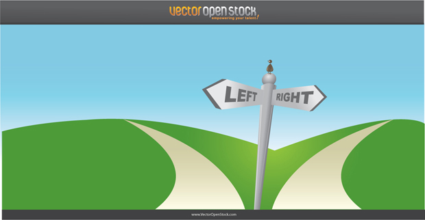 Two Ways Vector Road Sign