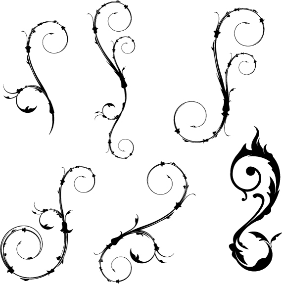 Flowers Spiral Vector Silhouettes Design