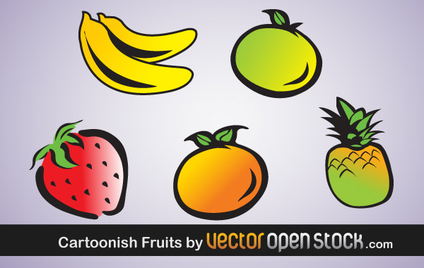 Cartoonish Vector Fruits