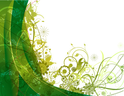 Green Vector Floral Background