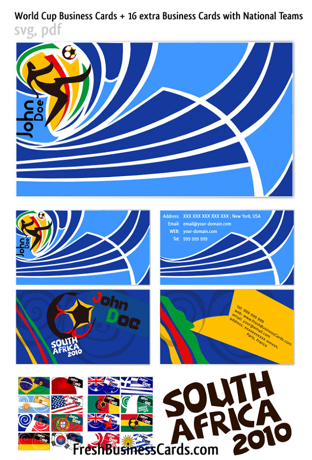 World Cup South Africa Vector Business Cards