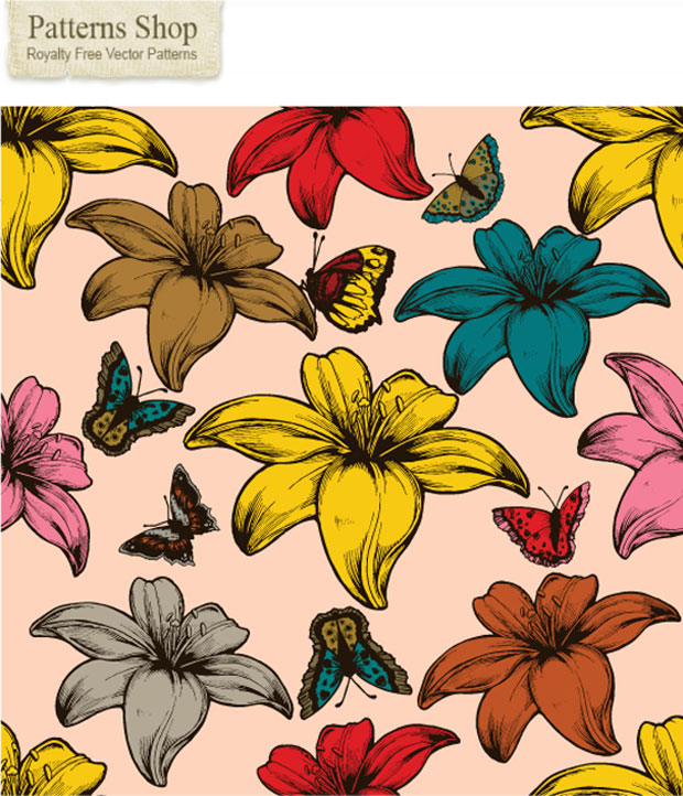 Vector Flowers And Butterflies Seamless Patterns