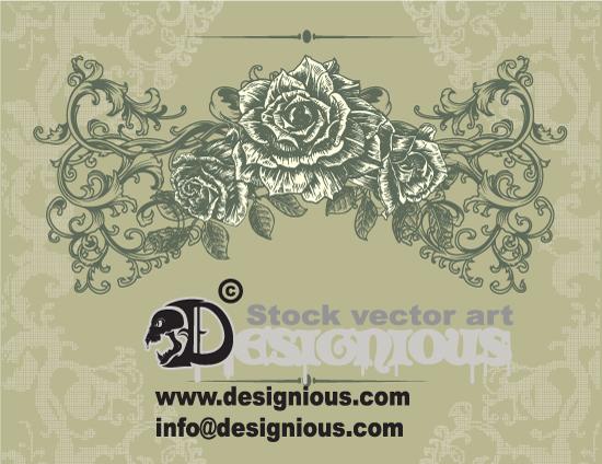 Vintage Vector Rose Floral