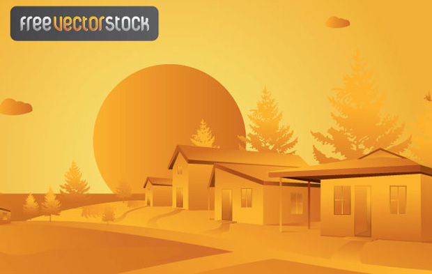 Orange Landscape Vector