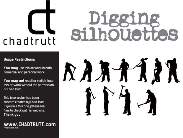 Digging Silhouettes Vector