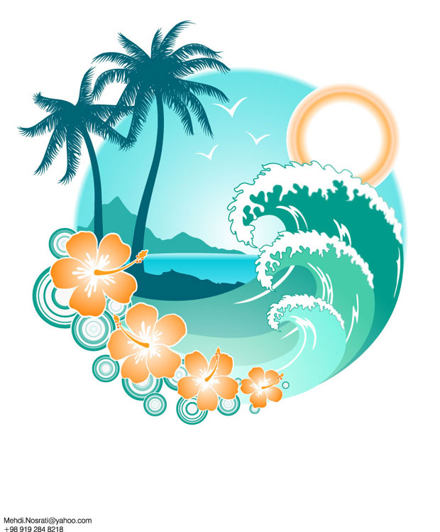 Summer Island Vector Art
