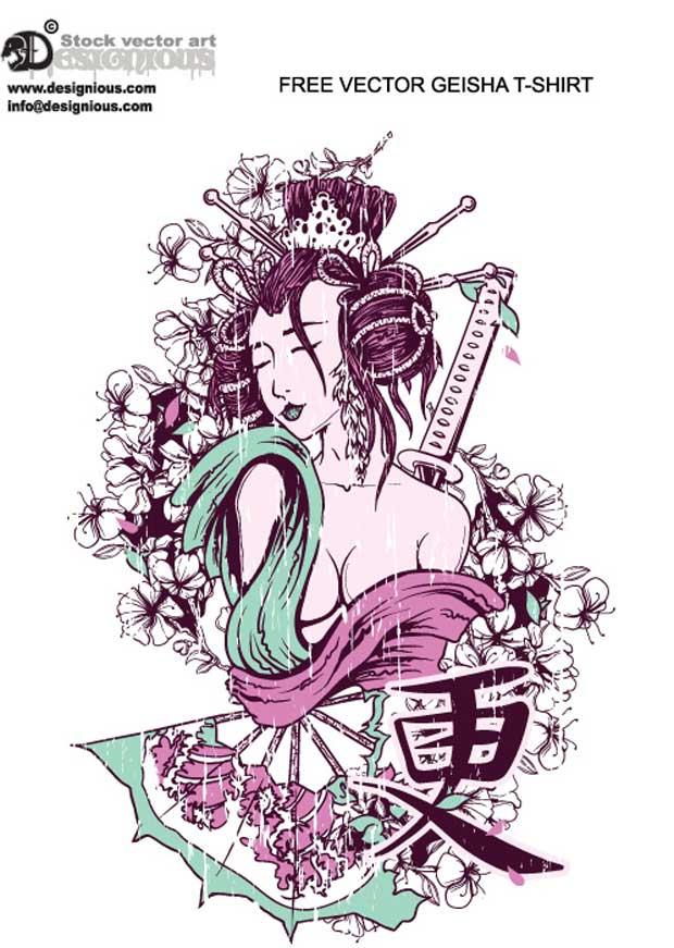 Geisha T-Shirt Vector Art