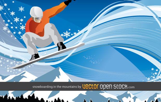 Snowboarding In The Mountain Vector Art