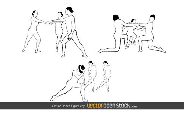 Classic Dance Figures Vector