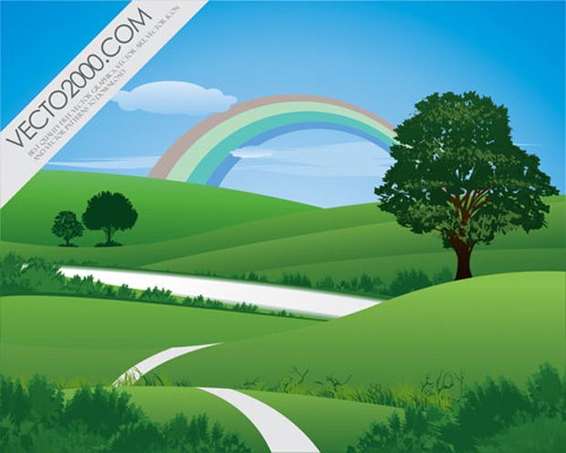 Hills With Rainbow Vector Art