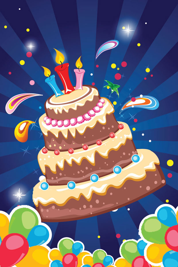 Birthday Cake Card Vector Art