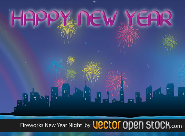 New Year Fireworks Vector