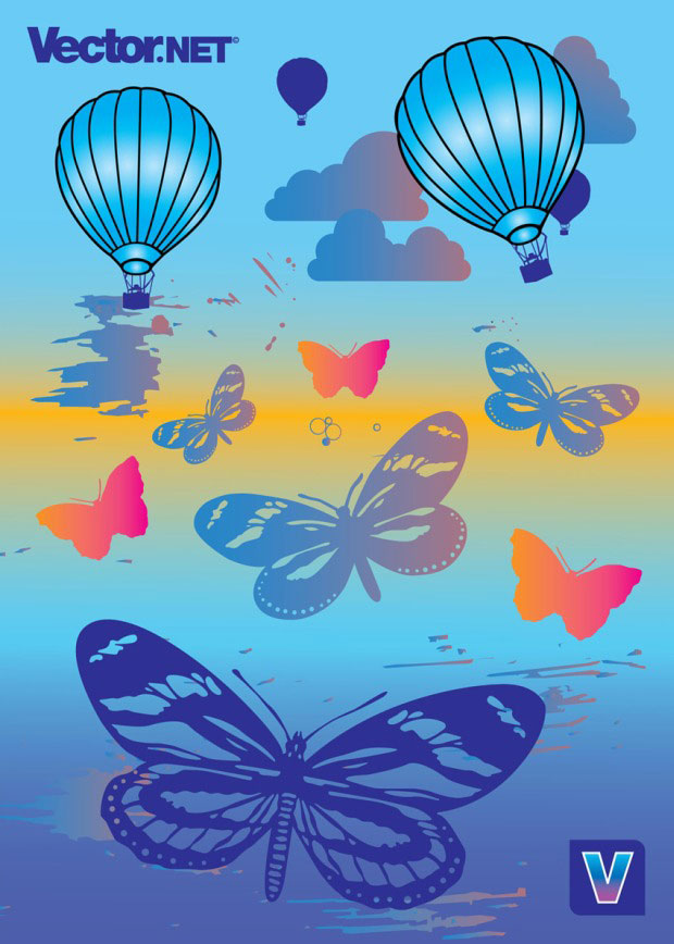 Summer Balloons And Butterflies Vector