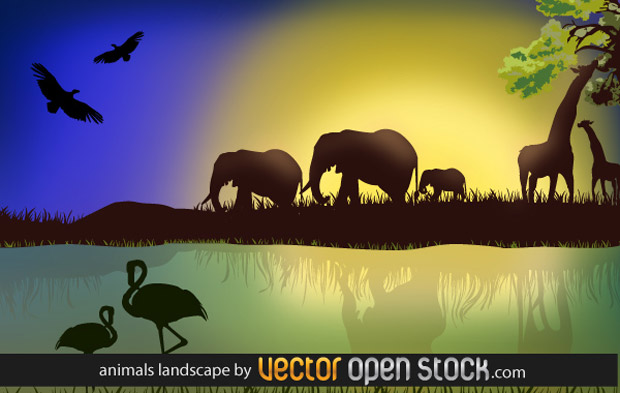 African Landscape With Animals Vector