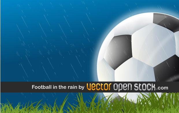 Football In The Rain Vector