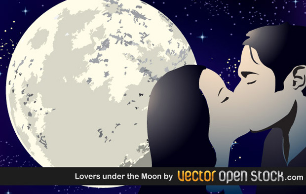 Lovers Under The Moon Vector