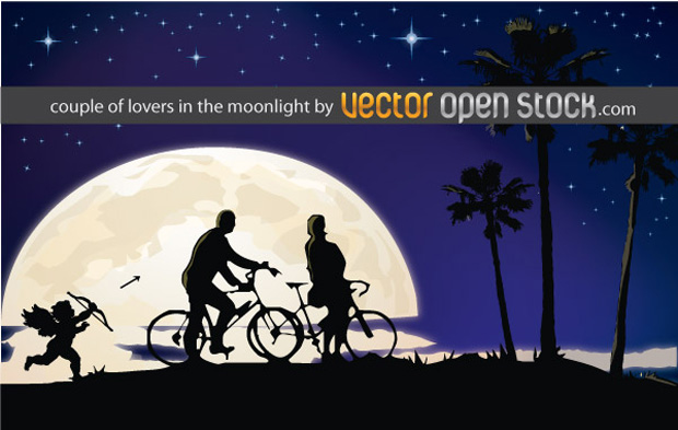 A Couple In The Moonlight Vector