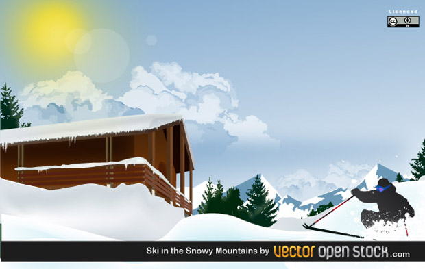 Skiing In The Mountain Vector
