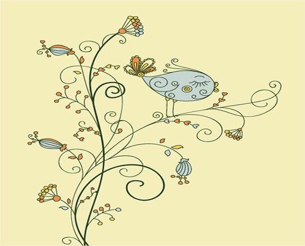 Bird on Flower Vector Art