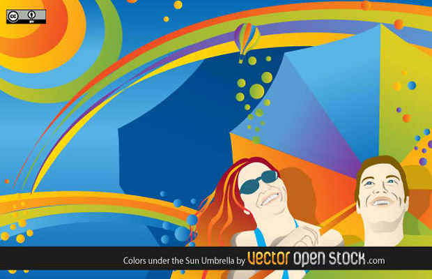 Colorful Umbrella Vector Graphic