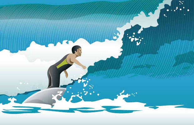 Beach Surfing Vector