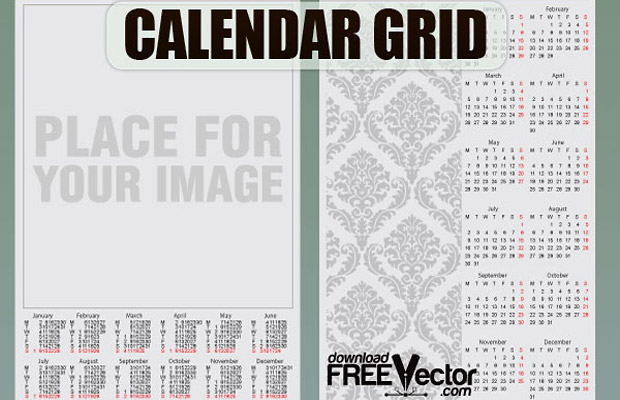 Calendar Vector Grid Design