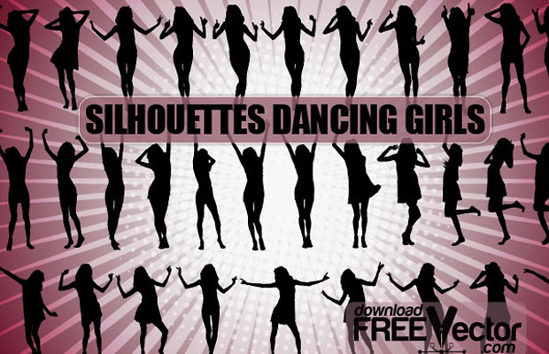 Dancing Girls Vector Silhouette