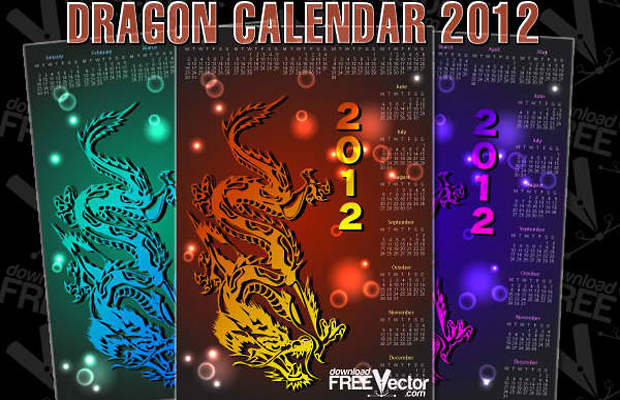 Dragon Calendar Vector