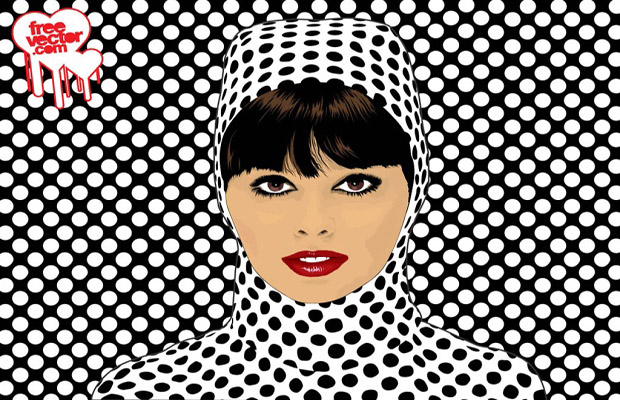 Polka Dots Girl Vector