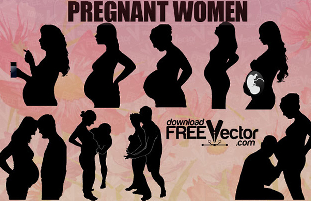 Pregnant Women Vector Silhouettes