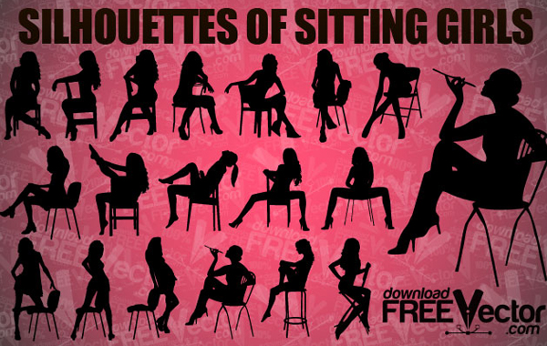 Sitting Girls Vector