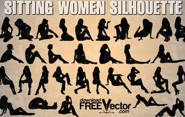 Sexy Sitting Women Vector